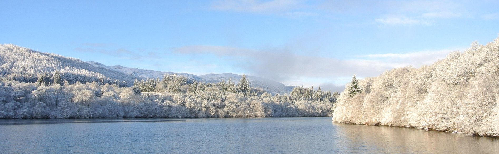 cold loch with snowy forest in perthshire